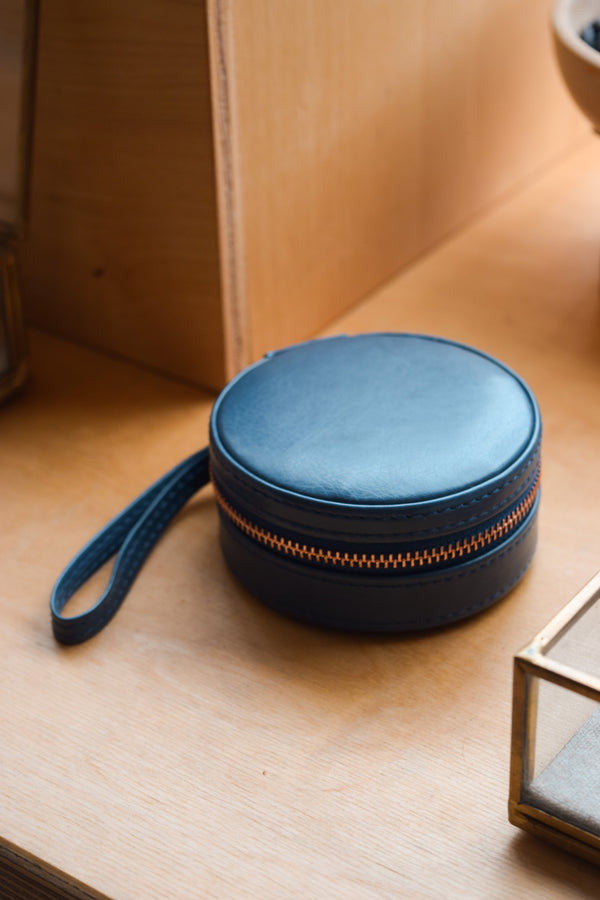 Navy Mint Travel Jewelry Case