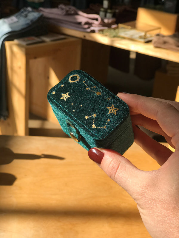 Teal Starry Night Velvet Ring Case