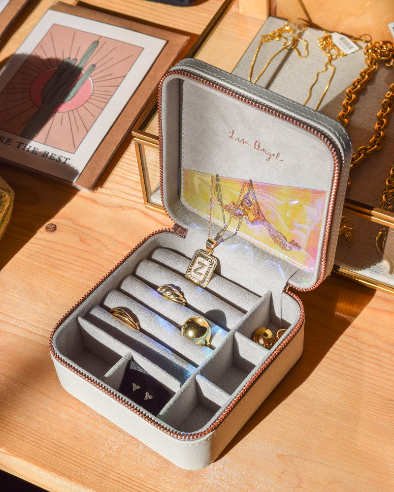 Take Me With You Travel Jewelry Case I Grey