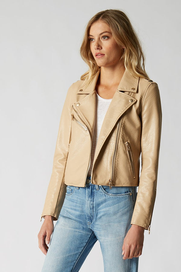 Natural Light Vegan Leather Jacket