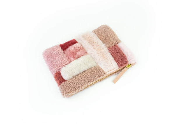 Patchwork Zipper Pouch Pink Shapes