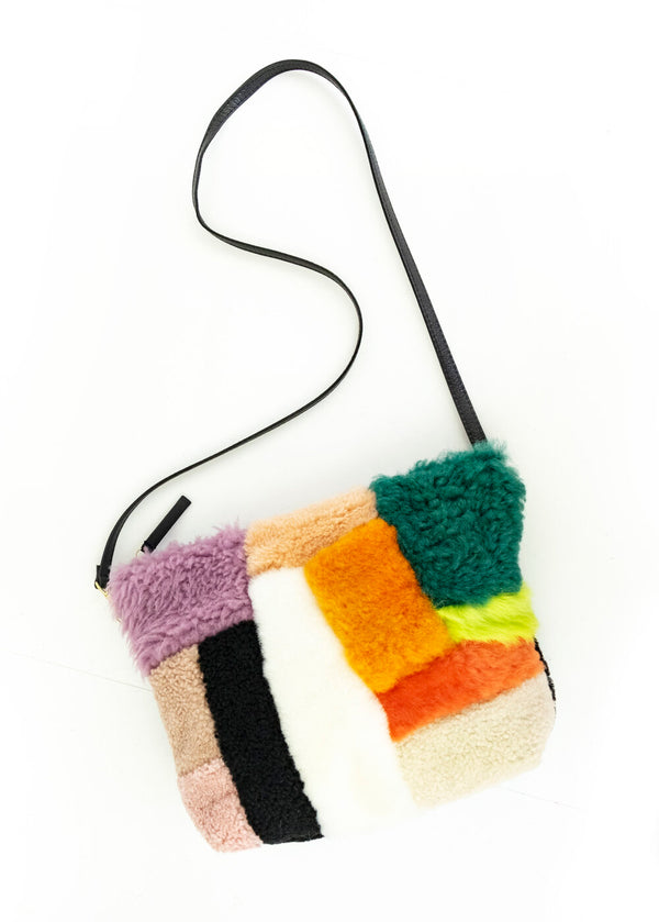 Patchwork Mini Hobo Shapes Shearling
