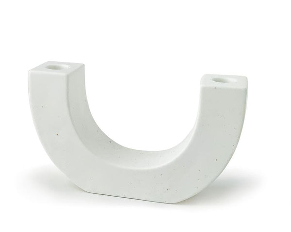 Ceramic U Shaped Taper Candle Holder White