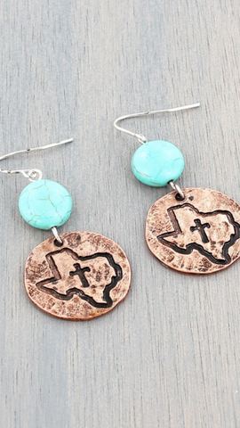 Texas Copper and Turquoise Tiered Earrings