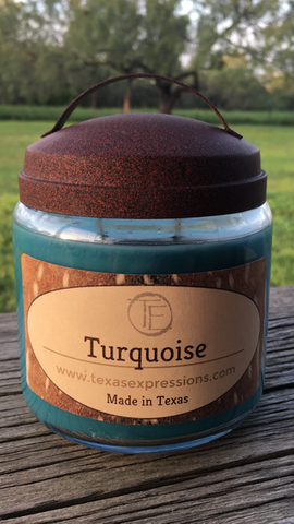 Turquoise Rustic Candle