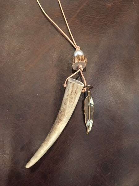 Antler Point long necklace with Feather on Leather cord