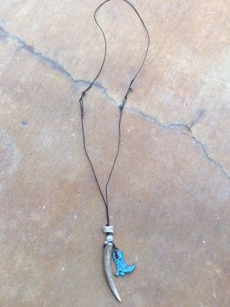 Antler point Necklace with cowboy boot charm on leather cord