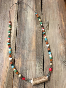Beaded Log Antler Necklace