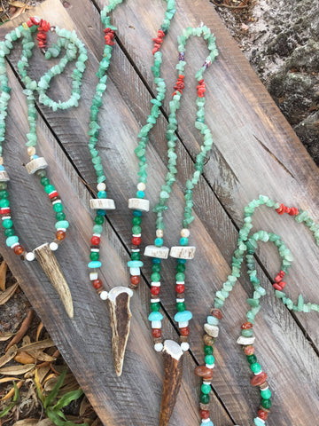 Full Beaded Stretchy Antler Point Necklace