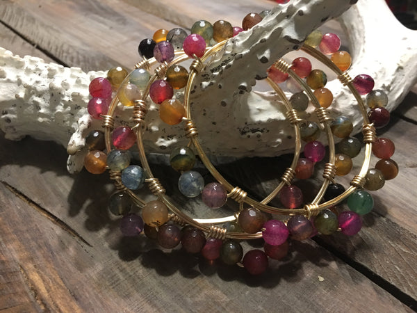 Twisted Wire Agate Beaded Bangle Bracelet