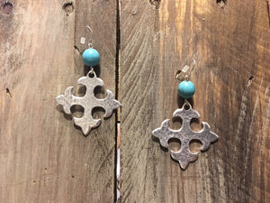 Square Cross Silvertone Earrings with Turquoise bead