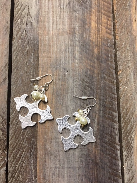 Square Cross Silver tone Earrings with pearl colored beads
