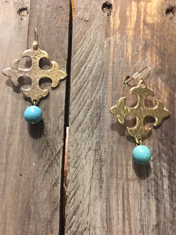 Square Cross Gold tone Earrings with Turquoise Bead