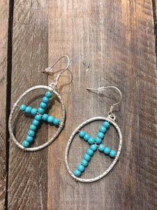 Oval Turquoise beaded Silver tone  cross earrings