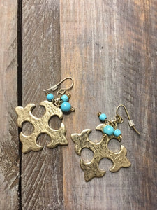 Square Cross Gold Tone earrings with Turquoise cluster beads