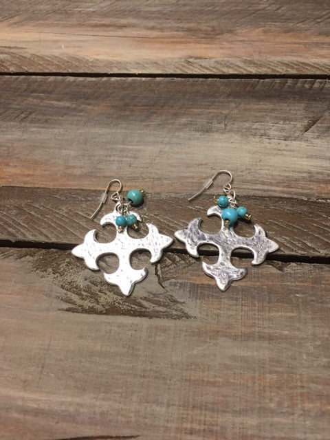 Square Silver tone earrings with Turquoise cluster beads