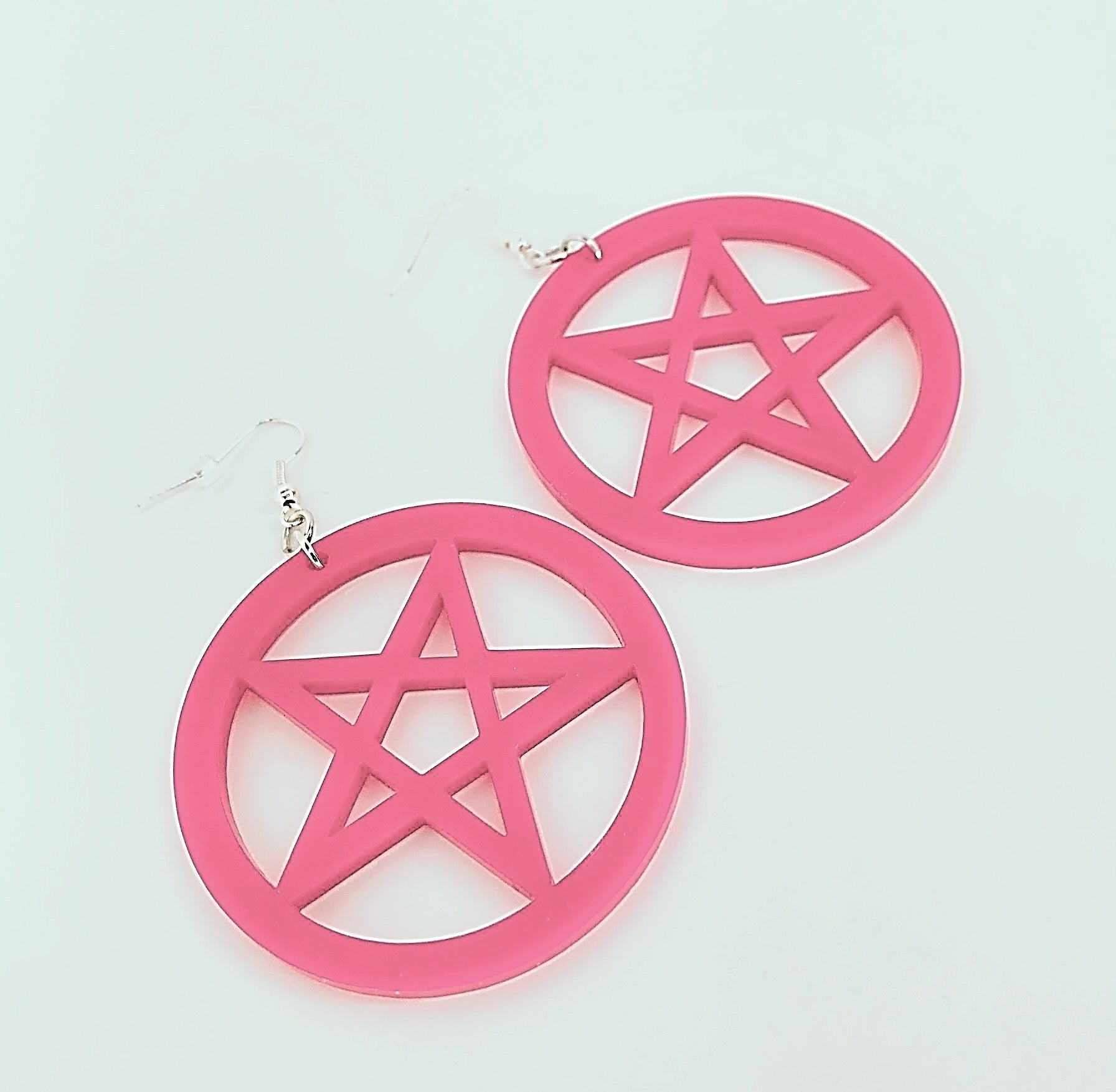Pink Pentagram Earrings