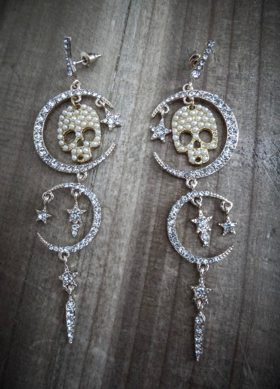 Pearl Moon Skully Earrings