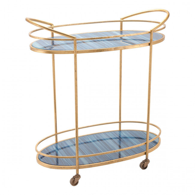 blue agate bar cart