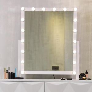 "Marilyn - Hollywood Style 30"" x 27"" Tabletop Vanity LED Mirror With Dimmable Warm/Cool LED's"