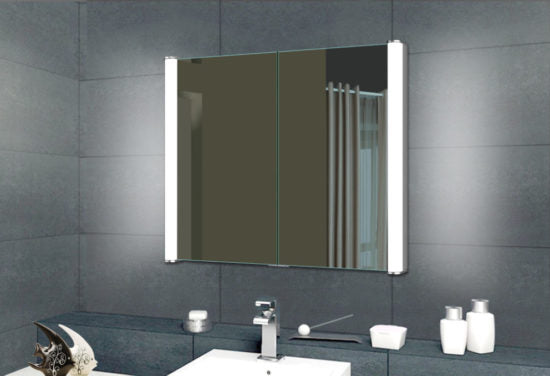 LED Medicine cabinet double sided mirror doors with led lighting on both sides front view.