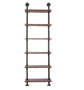"Industrial Iron 6 Tier Standing Utility Shelf -  23.62"" x 9.84"" x 78.74"""