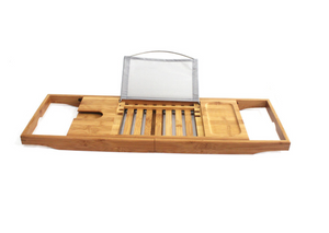 "Bamboo Bathtub Caddy Rack - Extendable From 29.33"" To 42.5"""