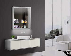 "LED Wall-Mounted Mirror Cabinet - Angled Front View 24""x30"""