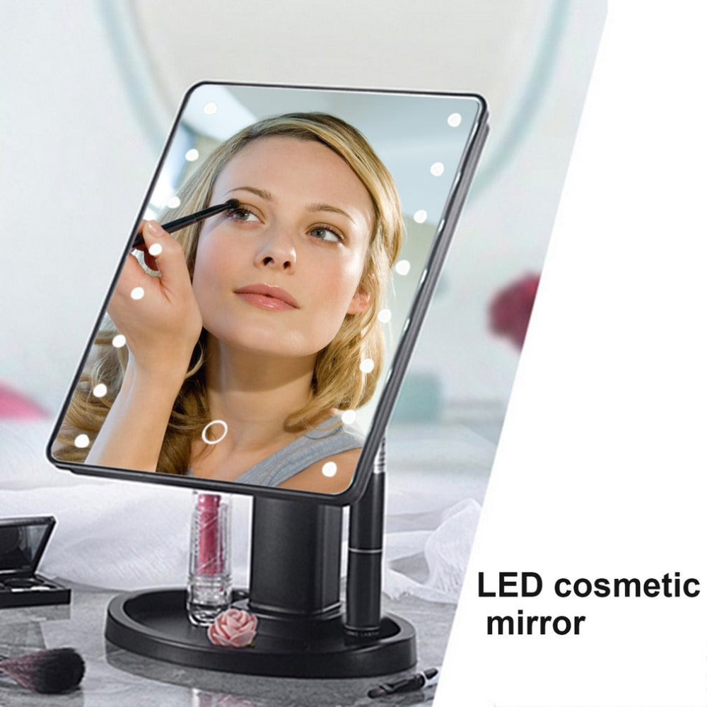 LED Portable Makeup Mirror 360 Degree Rotation Touch
