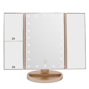Gold LED Make up Mirror trifold 3X 2X 1X Magnifying Mirrors with Touch Screen and 180 Adjustable Stand Vanity Mirror