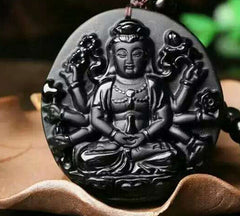 Obsidian Carved Thousand Hands Guanyin Buddha Pendant