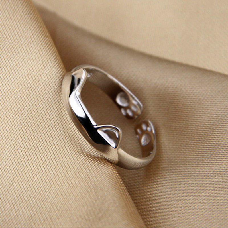 gift rings and cat sterling umode ring silver open jewelry girls new ear women products for cute bijoux authentic