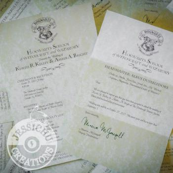 Harry Potter Inspired Themed Wedding Stationary, Invitation, Programs, RSVP, Save the Date | Jessichu Creations Blog