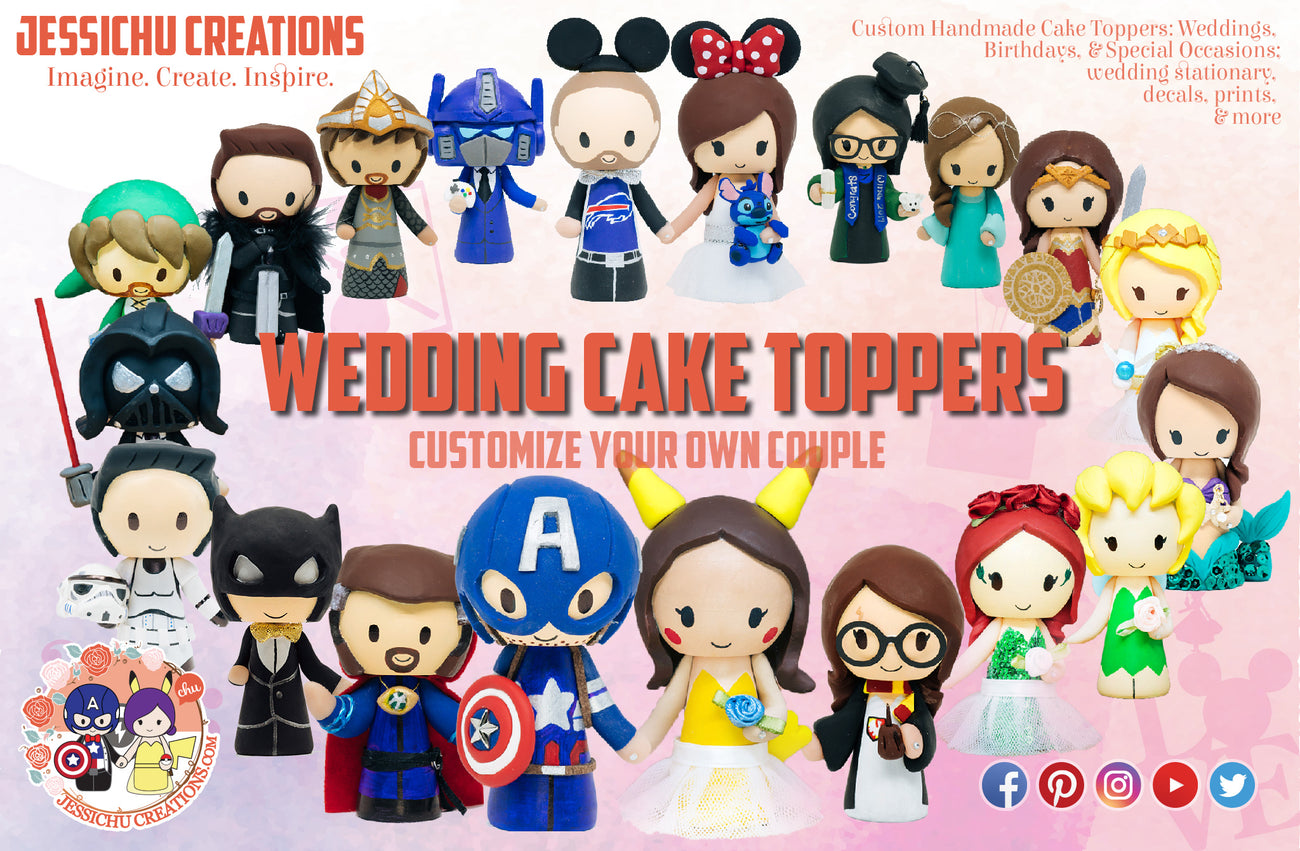 Custom Wedding Cake Toppers Handmade Figurine Geeky Nerdy Cute Peg Dolls| Jessichu Creations