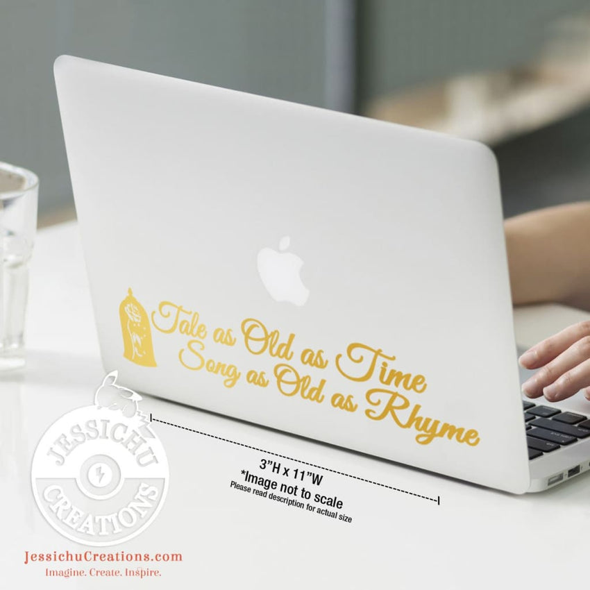 Tale As Old Time Song Rhyme - Beauty And The Beast Inspired Disney Quote Vinyl Decal Decals