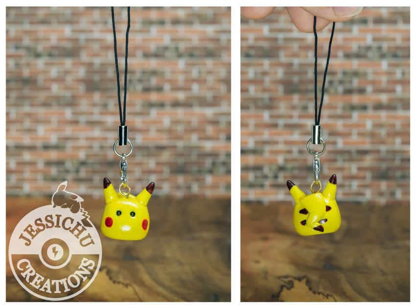 Pikachu Figurine - Pokemon Keychain Phone Strap In Golden Lightball Ornament Proposals