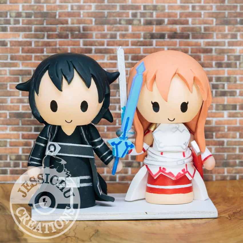Kirito and Asuna Wedding Cake Topper | SAO | Jessichu Creations