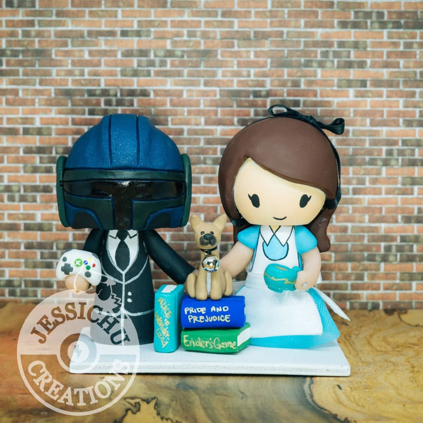 Boba Fett and Alice in Wonderland Wedding Cake Topper | Star Wars x Disney | Jessichu Creations