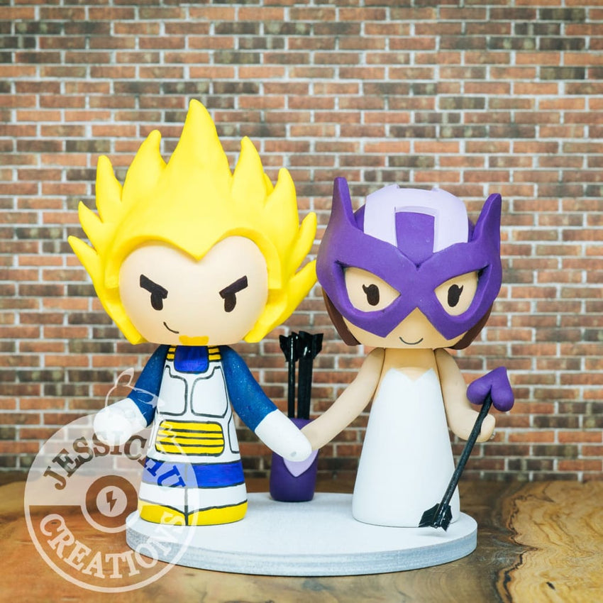 Vegeta and Hawkeye Wedding Cake Topper | Dragon Ball Z x Marvel | Jessichu Creations