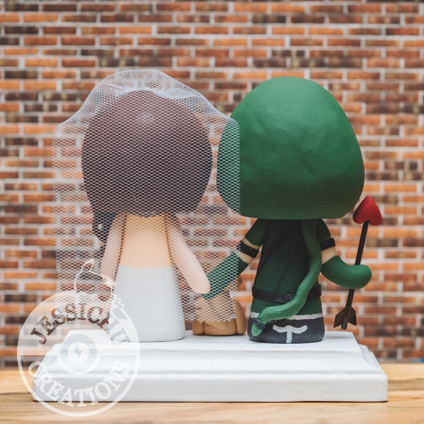 Green Arrow and Pretty Bride Wedding Cake Topper | DC | Jessichu Creations