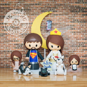 Superman and Wonder Woman with Daughters Wedding Cake Topper | DC | Jessichu Creations