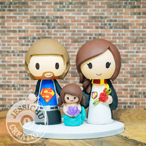 Superman and Harry Potter with Little Mermaid Child Wedding Cake Topper | DC x HP x Disney | Jessichu Creations