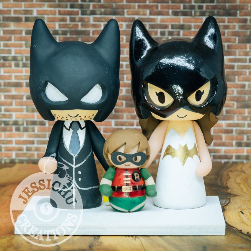 Batman and Batgirl with Robin Child Wedding Cake Topper | DC | Jessichu Creations