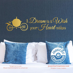 A Dream Is Wish Your Heart Makes - Cinderella Inspired Disney Quote Wall Vinyl Decal Decals