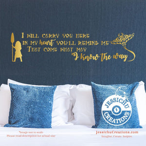 I Will Carry You Here In My Heart - Moana Inspired Disney Quote Wall Vinyl Decal Decals