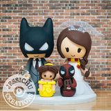 Batman and Harry Potter with Belle and Deadpool Child Wedding Cake Topper | DC x HP x Disney x Marvel | Jessichu Creations