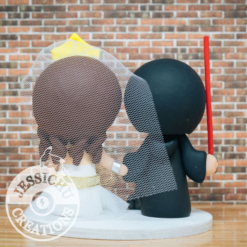Jedi and Wonder Woman Wedding Cake Topper | Star Wars x DC | Jessichu Creations