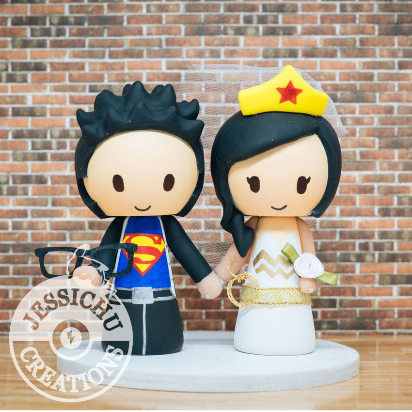 Clark Kent Superman Groom and Wonder Woman Bride Wedding Cake Topper | DC Comics | Jessichu Creations