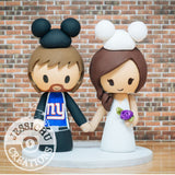 New York Giants Mickey Sports Fan and Minnie Mouse Bride Wedding Cake Topper | Sports x Disney | Jessichu Creations