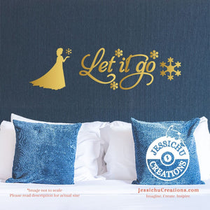 Let It Go - Frozen Inspired Disney Quote Wall Vinyl Decal Laptop Macbook Stairs Decals